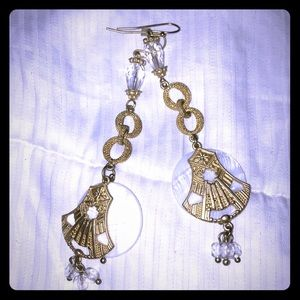 Jewelry - Gold and White Earrings